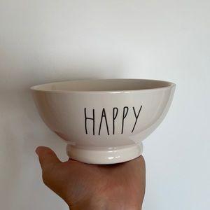 Rae Dunn HAPPY white black lettering cereal bowl